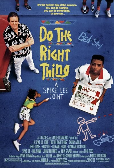 One sheet movie poster advertises 'Do the Right Thing' (Universal Pictures), director Spike Lee's drama starring Danny Aiello, Ossie Davis, Ruby Dee, Giancarlo Esposito, Bill Nunn, Spike Lee, Samuel L. Jackson and John Turturro, 1989. (Photo by John D. Kisch/Separate Cinema Archive/Getty Images)