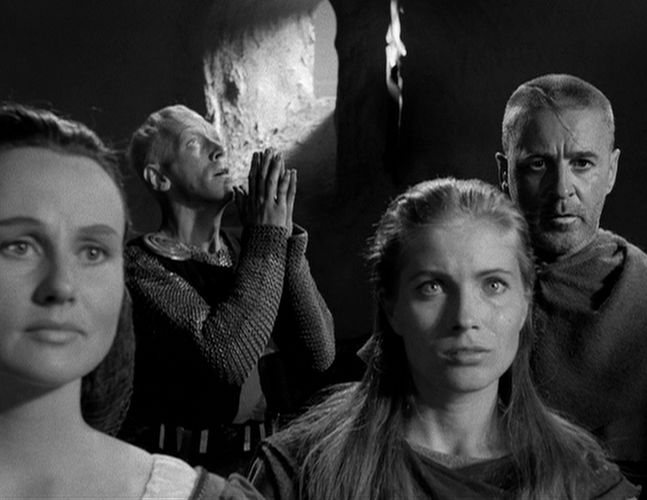 This image has an empty alt attribute; its file name is bergman-faces-in-seventh-seath-all-4-actors.jpg