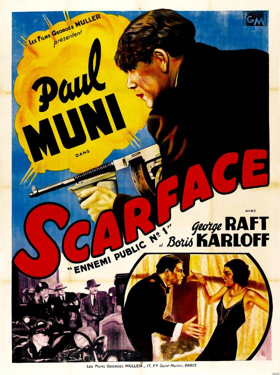 This image has an empty alt attribute; its file name is scarface-howard-hawks-poster.jpg