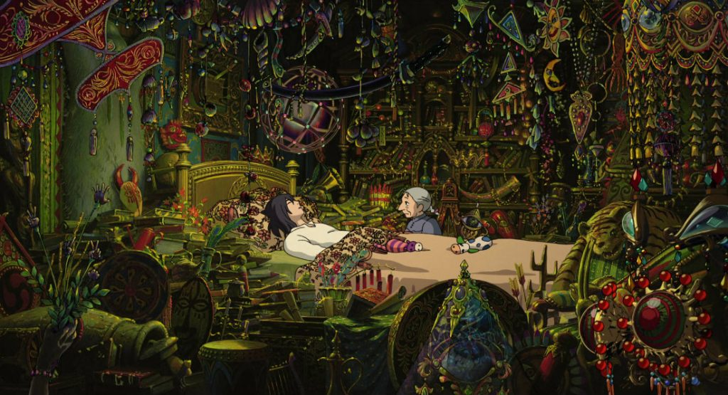 This image has an empty alt attribute; its file name is howl-bed-Miyazaki-1024x555.jpg